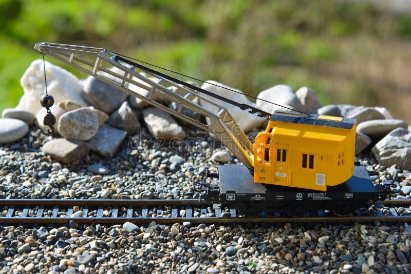 Modelos de los ferrocarriles Marklin, grúa móvil fotos de archivo libres de regalías
