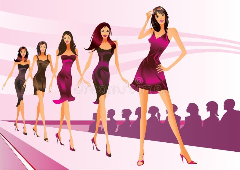 Modelos de manera en un desfile de moda stock de ilustración