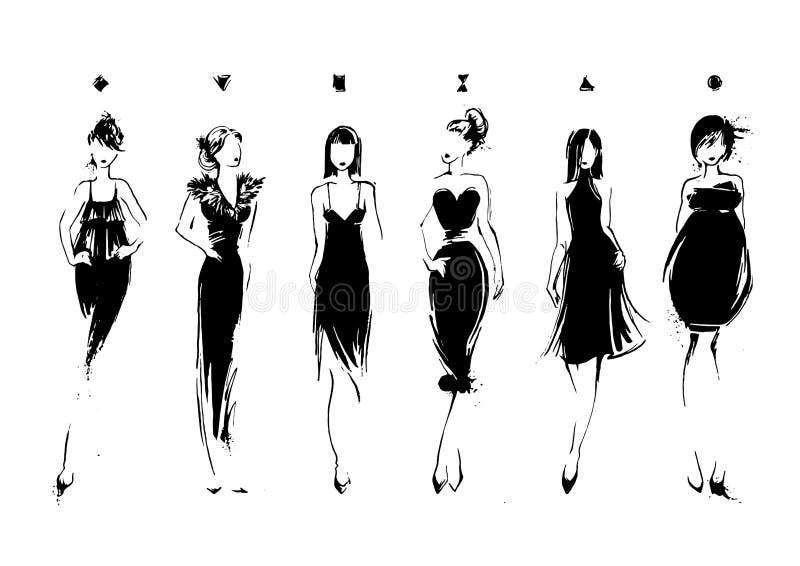 Modelos de moda en estilo del bosquejo Colección de vestidos de noche Tipos de cuerpo femenino libre illustration