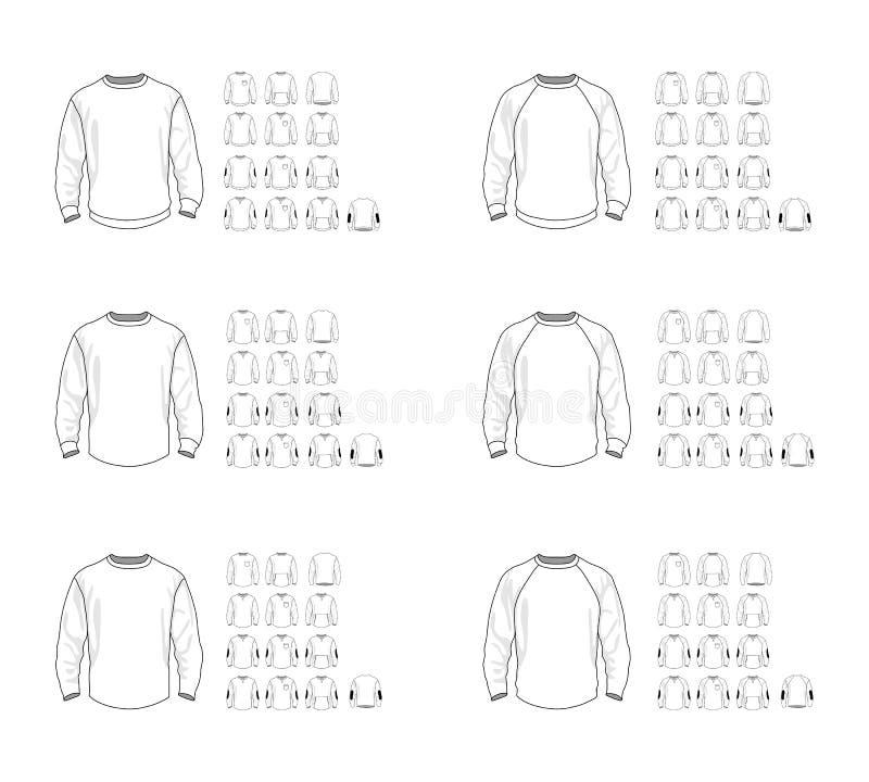 Modelos de vector de la plantilla de la camiseta diversos, frente y visión trasera imagen de archivo