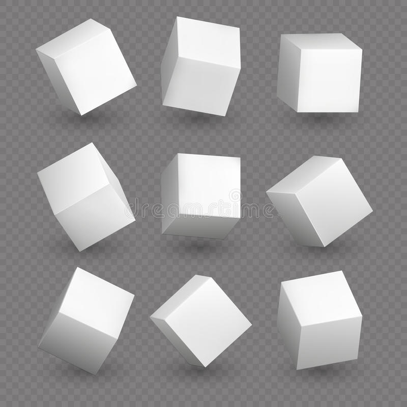 Modelos del cubo 3d en perspectiva Cubos en blanco blancos realistas con las sombras stock de ilustración