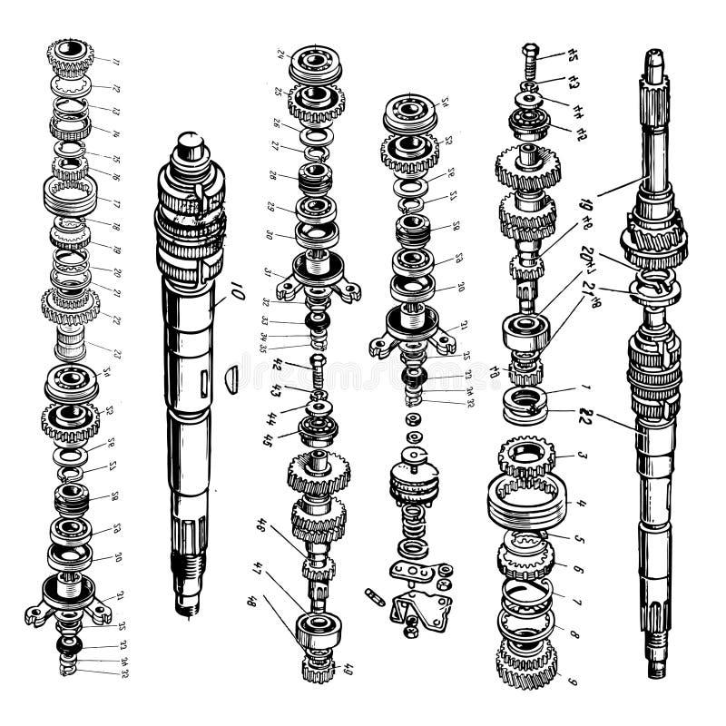 Modelos del engranaje stock de ilustración