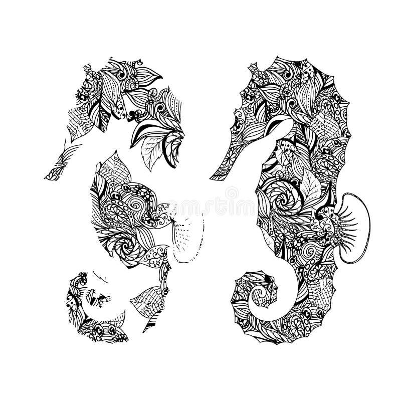 Modelos del gráfico del Seahorse Ilustraciones abstractas stock de ilustración