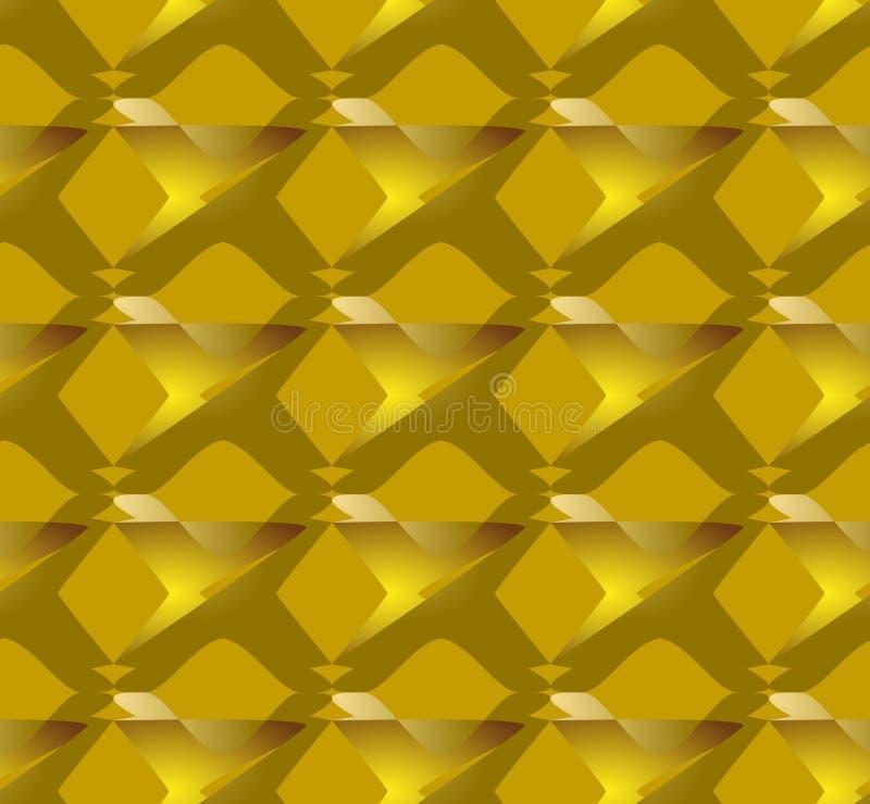 modelos del oro 3d en el fondo del oro, teja inconsútil Ornamento moderno, formas abstractas de oro lujosas libre illustration