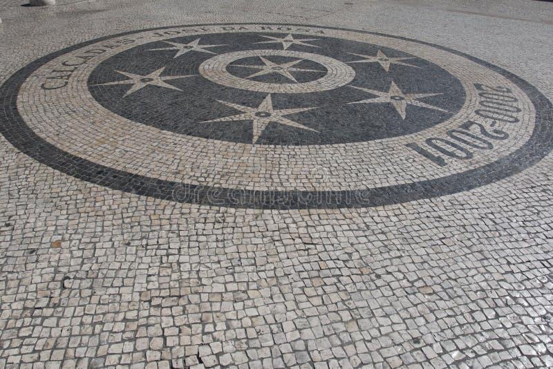Modelos del pavimento de la teja del extracto de Lisboa Portugal como fondo foto de archivo libre de regalías