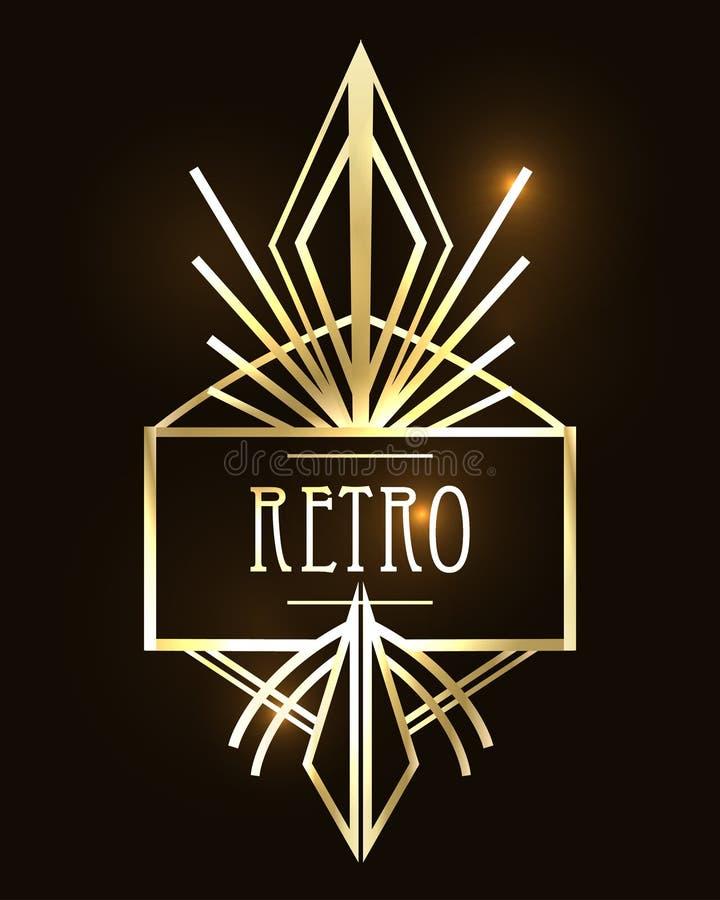 Modelos del vintage de Art Deco y elementos del diseño Geome retro del partido stock de ilustración