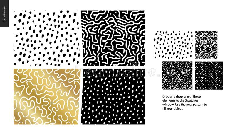 Modelos dibujados mano - pedazos ilustración del vector