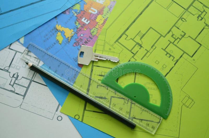 Modelos - dibujos arquitectónicos profesionales foto de archivo