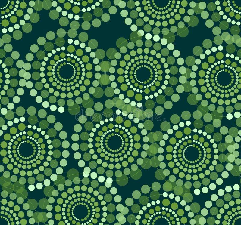 Modelos distribuidos desiguales verdes del círculo compuestos de puntos en el fondo negro, fondo inconsútil del vector abstracto  ilustración del vector