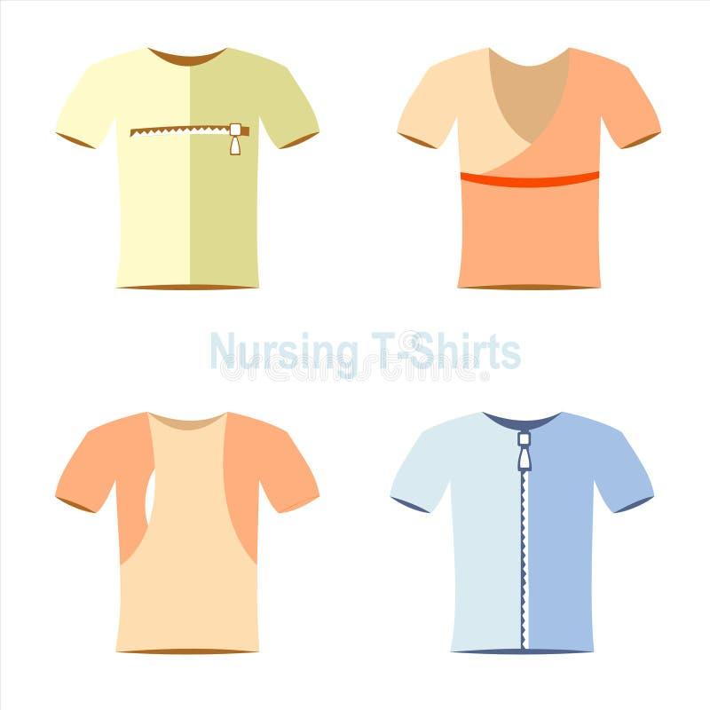 Modelos do t-shirt, pano, desgaste ilustração do vetor