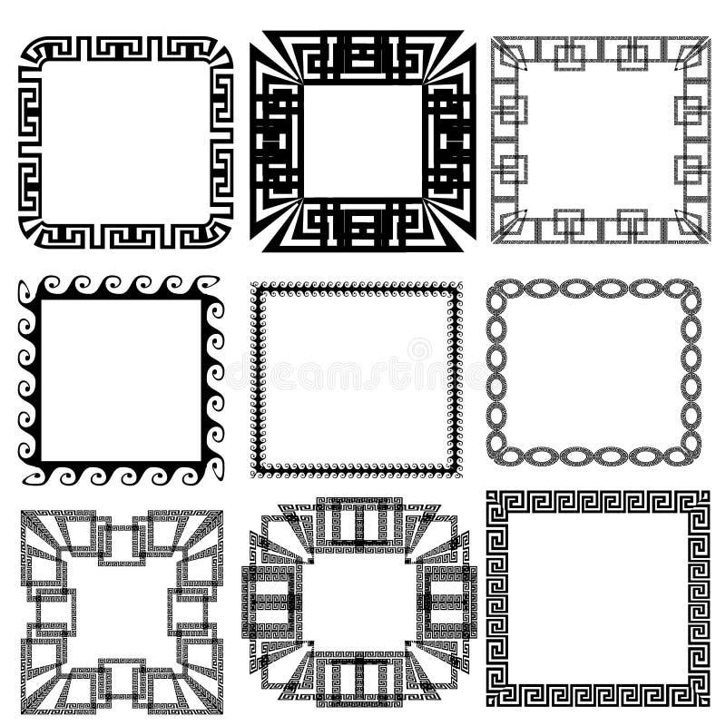 Modelos dominantes griegos cuadrados del marco de la frontera del meandro fijados ilustración del vector