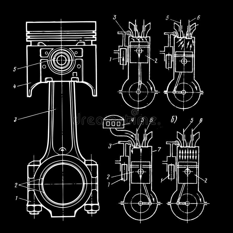 Modelos dos pistões ilustração stock