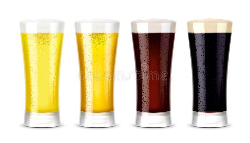 Modelos dos vidros de cerveja versão fotografia de stock royalty free