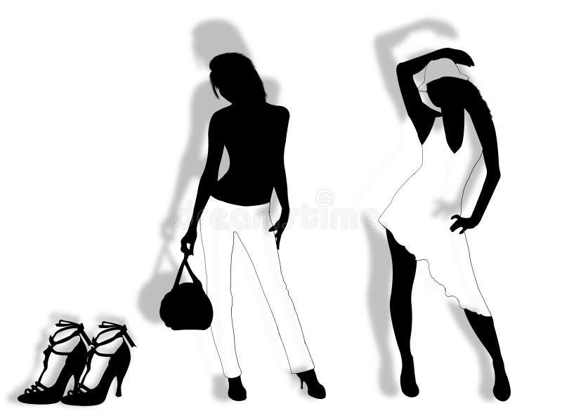 Modelos e sapatas ilustração do vetor
