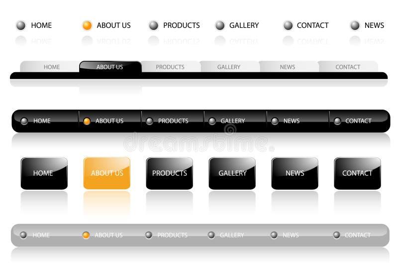 Modelos Editable de la navegación del Web site stock de ilustración