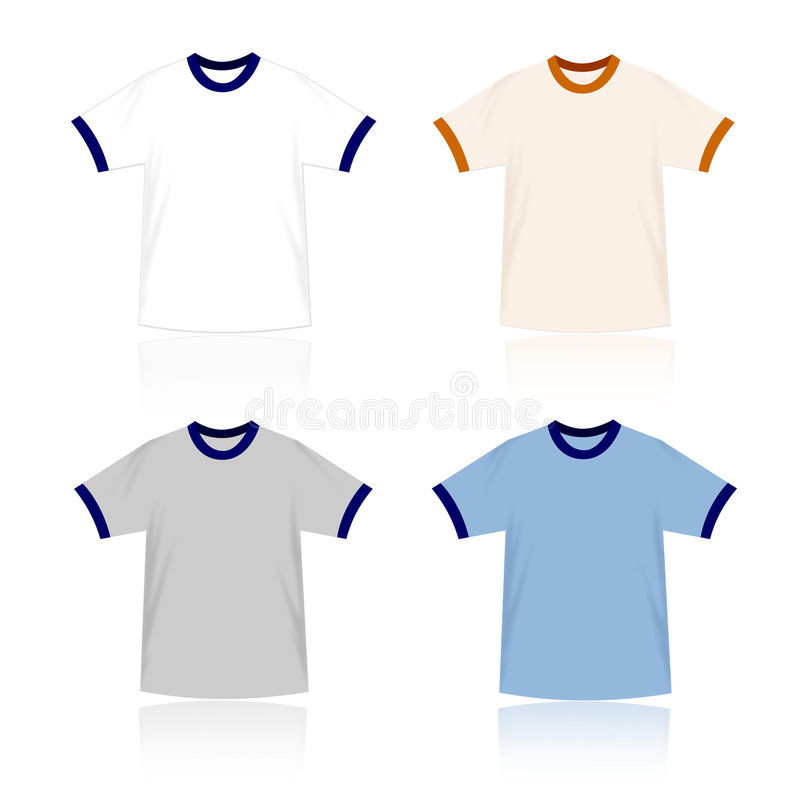 Modelos en blanco de las camisetas del campanero stock de ilustración