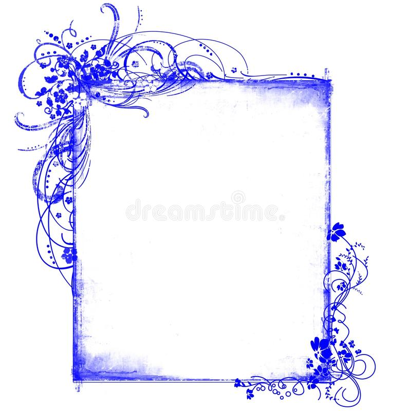 Modelos florales del marco azul ilustración del vector