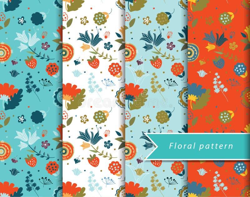 Modelos florales fijados libre illustration
