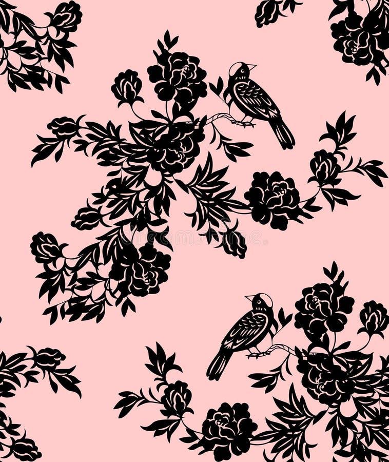 Modelos florales y del pájaro orientales libre illustration