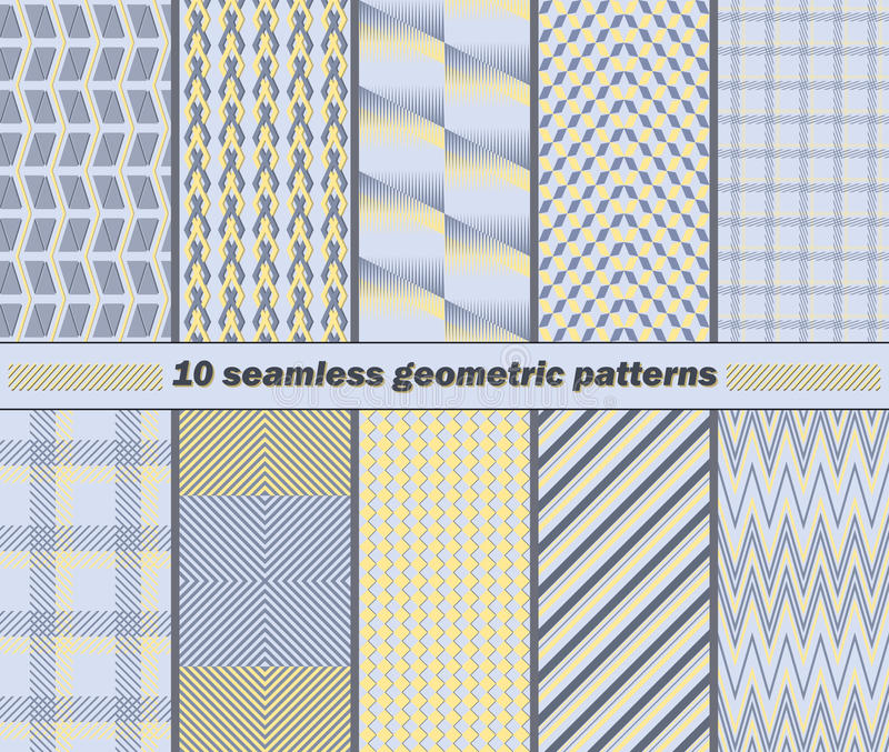 10 modelos geométricos abstractos inconsútiles en el co amarillo, azul, gris stock de ilustración