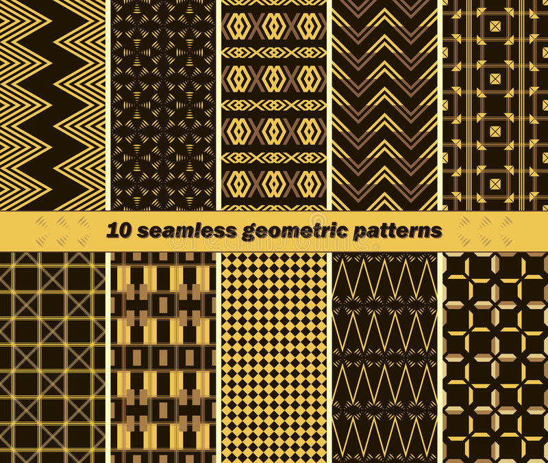 10 modelos geométricos elegantes abstractos inconsútiles libre illustration