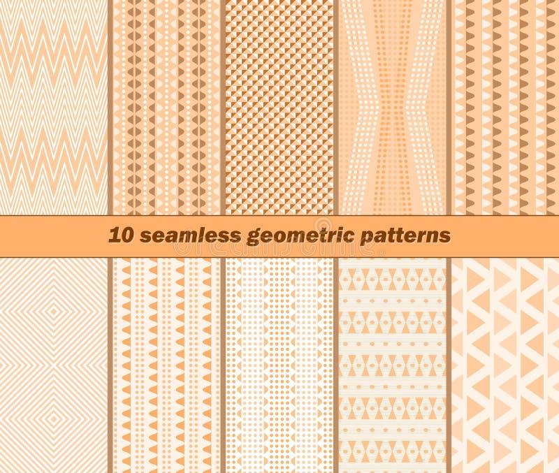 10 modelos geométricos inconsútiles en colores calientes del otoño stock de ilustración