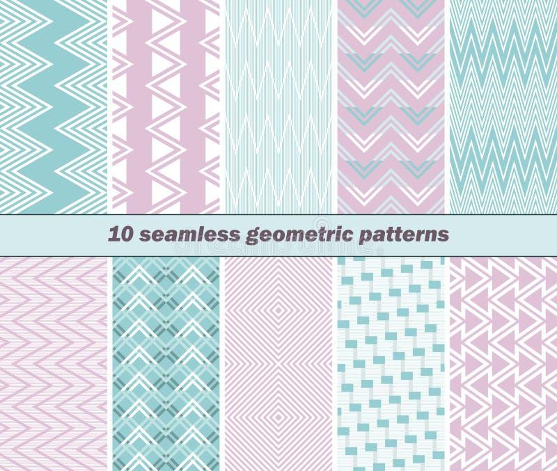 10 modelos geométricos inconsútiles en colores rosados y azules ilustración del vector