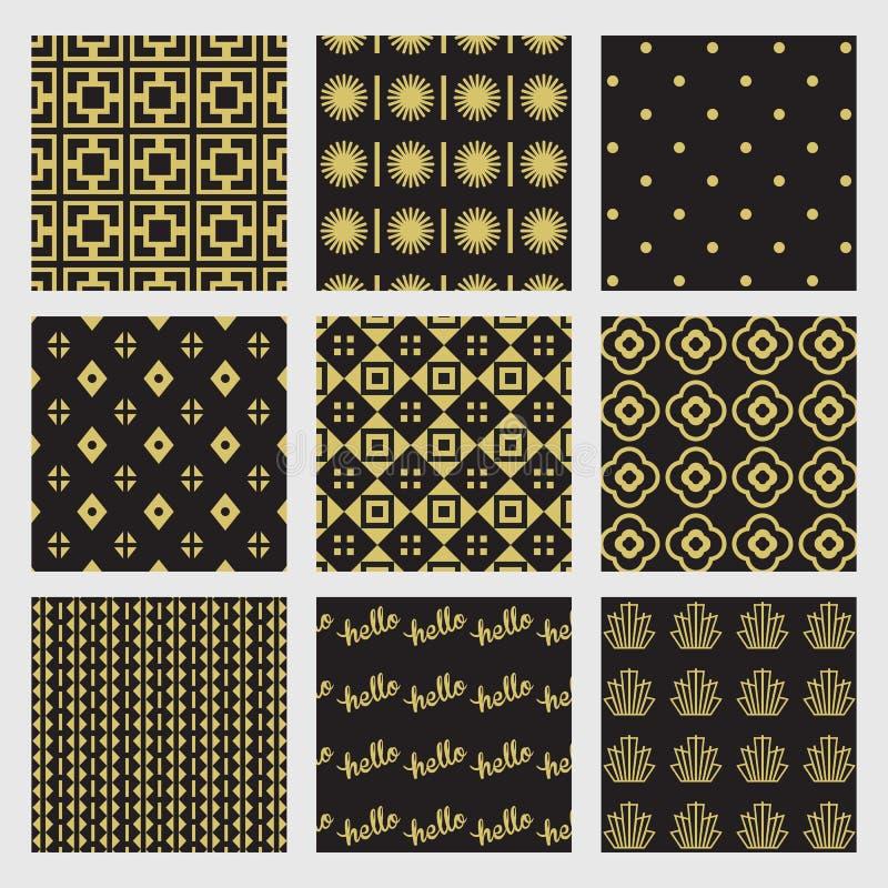 Modelos geométricos y de Art Deco negros y de oro fijados libre illustration