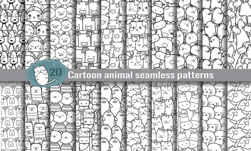 Modelos inconsútiles animales de la historieta libre illustration