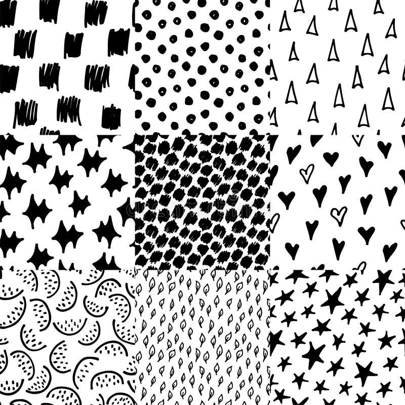 Modelos inconsútiles blancos y negros dibujados mano monocromática abstracta de la tinta fijados Ejemplo repetido vector del gara ilustración del vector