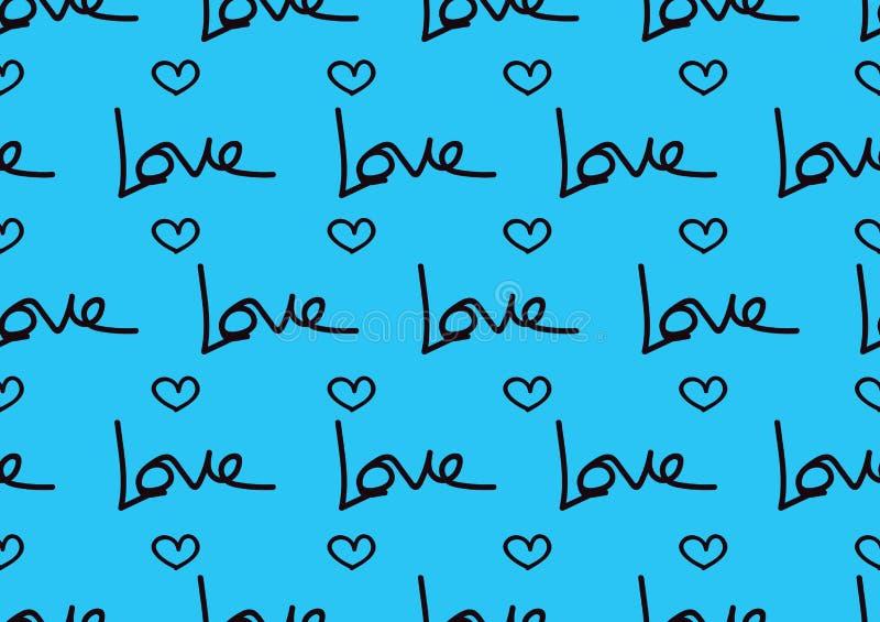 Modelos inconsútiles con los corazones azules, fondo del amor, vector de la forma del corazón, día de San Valentín, textura, paño stock de ilustración