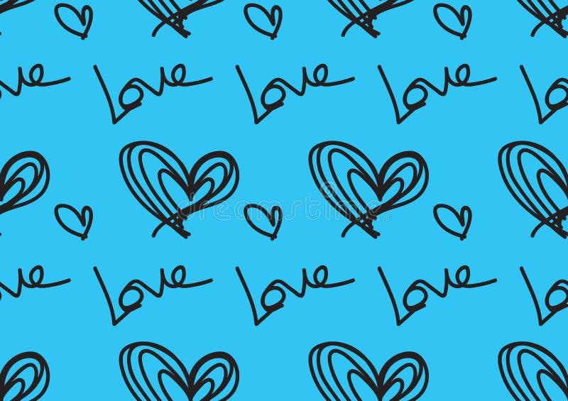 Modelos inconsútiles con los corazones azules, fondo del amor, vector de la forma del corazón, día de San Valentín, textura, paño ilustración del vector
