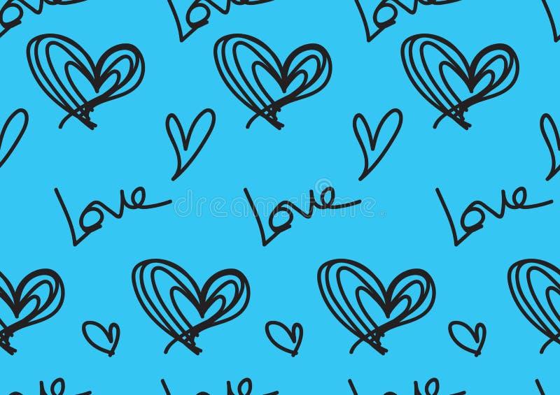 Modelos inconsútiles con los corazones azules, fondo del amor, vector de la forma del corazón, día de San Valentín, textura, paño libre illustration