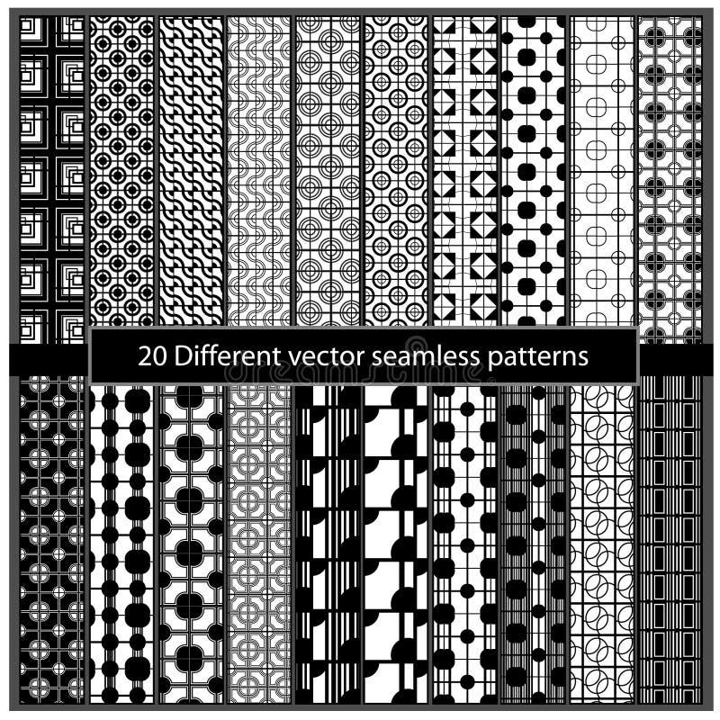 20 modelos inconsútiles de diverso vector ilustración del vector
