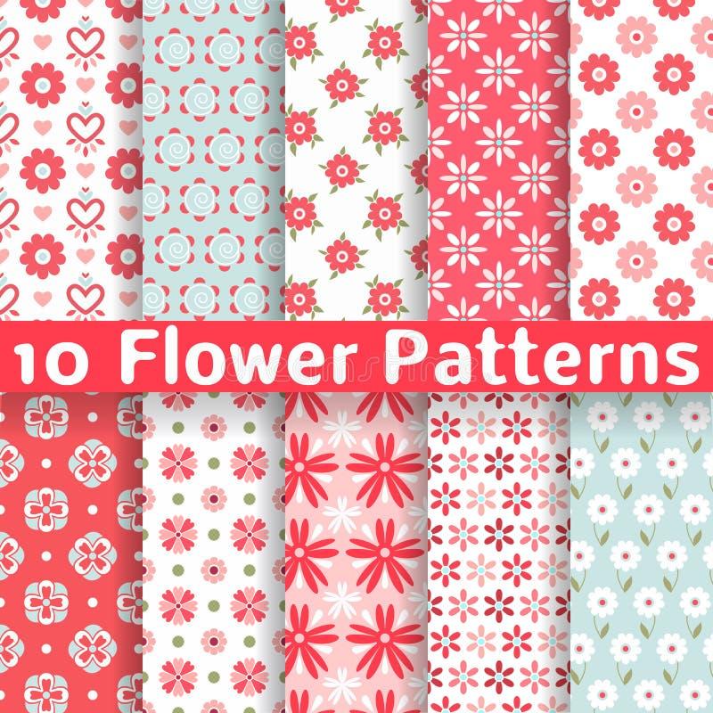Modelos inconsútiles de diverso vector de la flor stock de ilustración
