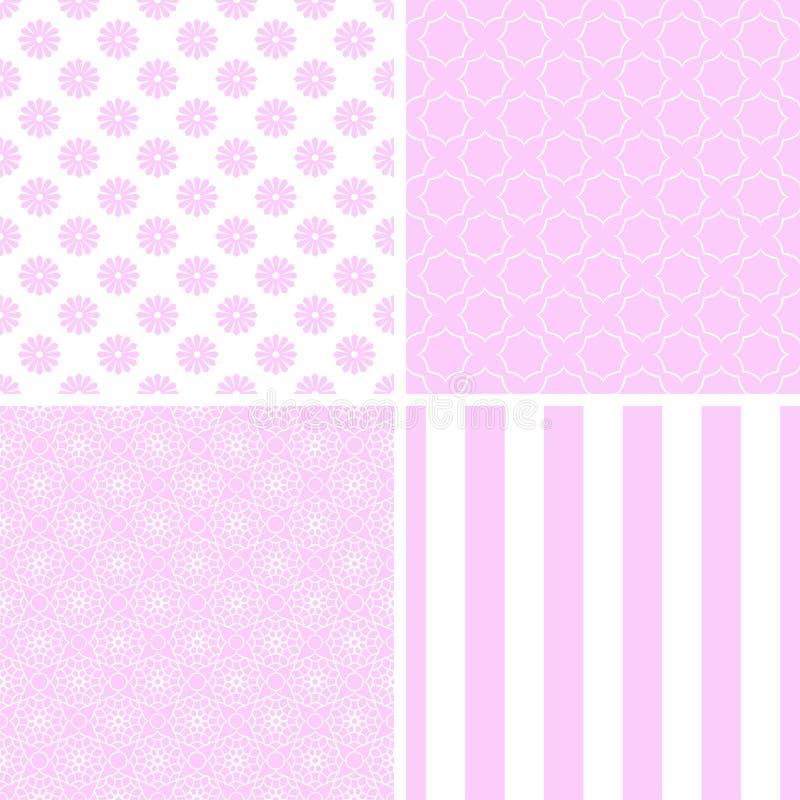 Modelos inconsútiles de diverso vector rosado ilustración del vector