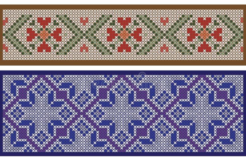 Modelos inconsútiles de la cinta, separados de fondo, imitación del bordado del punto de cruz libre illustration