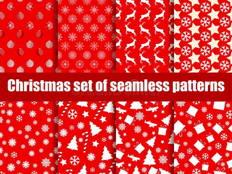 Modelos inconsútiles de la Navidad Árboles de navidad, copos de nieve y juguetes Vector libre illustration