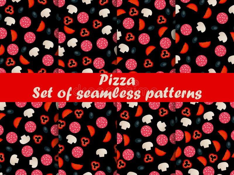 Modelos inconsútiles de la pizza fijados Ingredientes para la pizza Pizza italiana ilustración del vector