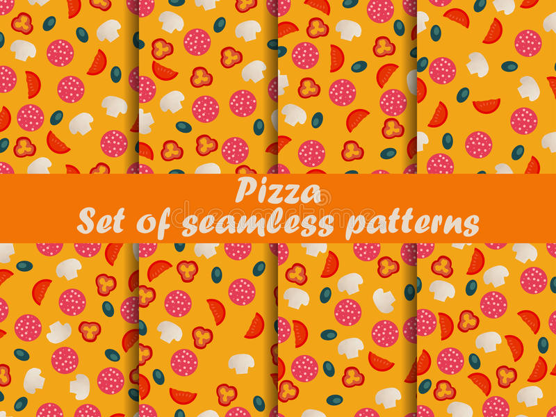 Modelos inconsútiles de la pizza fijados Ingredientes para la pizza Pizza italiana libre illustration