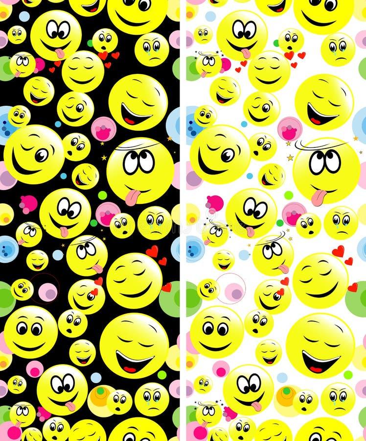 Modelos inconsútiles de las caras sonrientes que expresan diversas sensaciones ilustración del vector