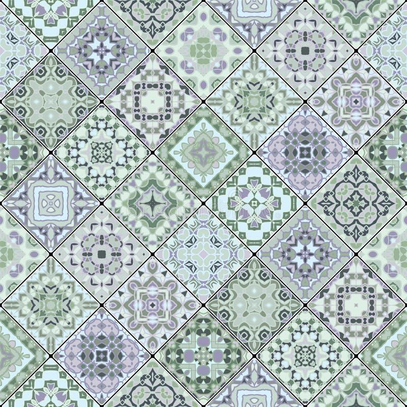 Modelos inconsútiles decorativos cuadrados en estilo étnico en un sistema diagonal de tejas ilustración del vector