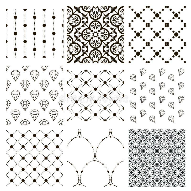 Modelos inconsútiles decorativos negros del vector fijados stock de ilustración