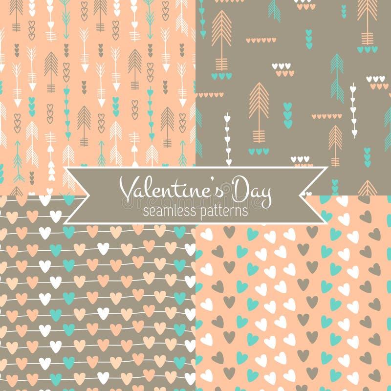 Modelos inconsútiles del día del ` s de la tarjeta del día de San Valentín ilustración del vector