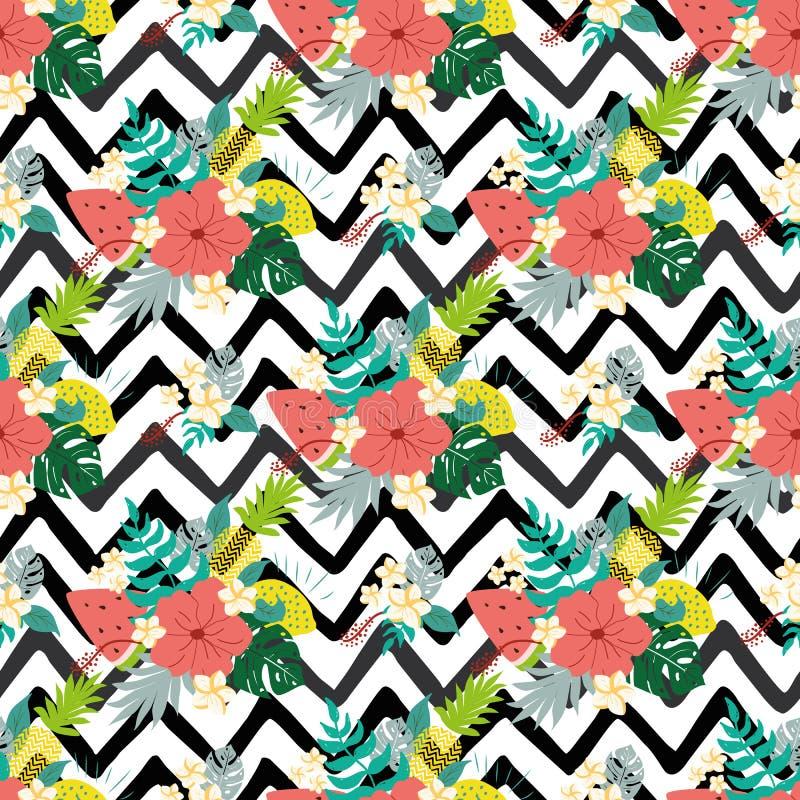 Modelos inconsútiles del hibisco del verano en las líneas fondo exótico del negro del zigzag de las frutas de las flores tropical stock de ilustración