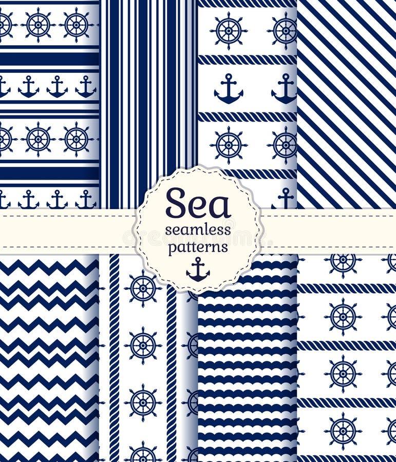 Modelos inconsútiles del mar. Colección del vector. stock de ilustración