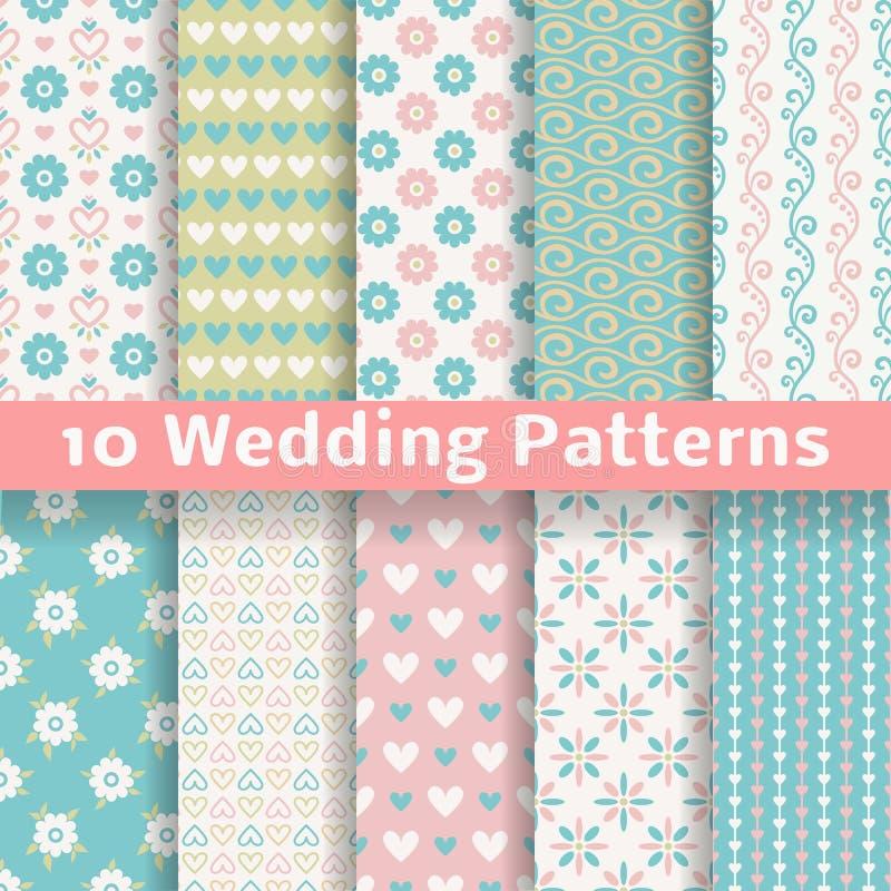 Modelos inconsútiles del vector cariñoso en colores pastel de la boda stock de ilustración
