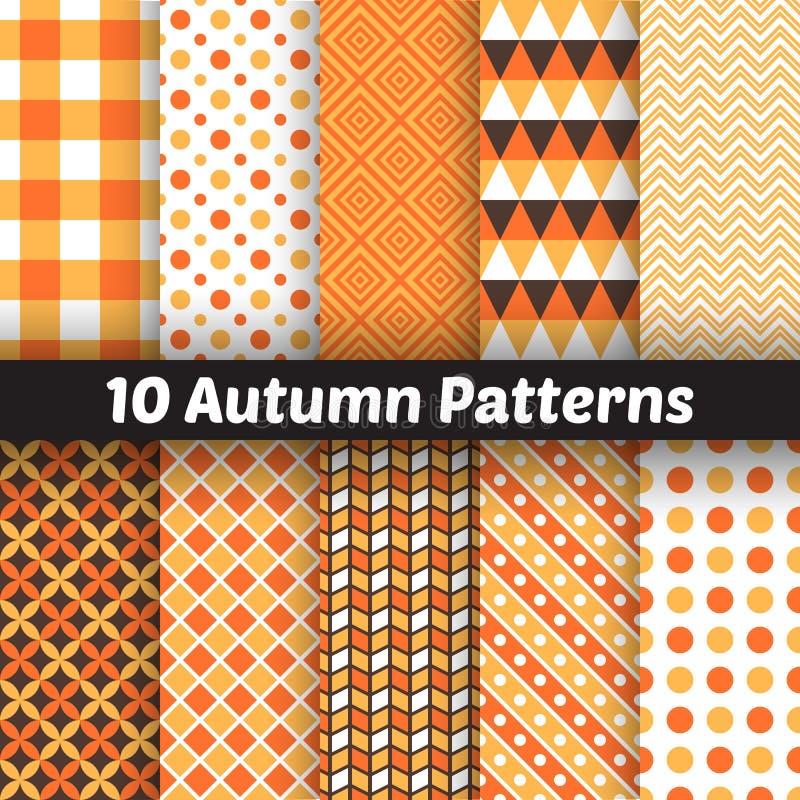 10 modelos inconsútiles del vector del otoño endless stock de ilustración