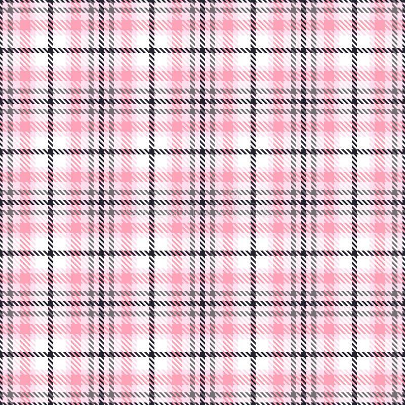 Modelos inconsútiles del vector del tartán rosado Textura a cuadros de la tela escocesa Fondo cuadrado geométrico para la tela ilustración del vector