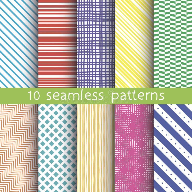 10 modelos inconsútiles del vector Texturas para el papel pintado, terraplenes, fondo de la página web stock de ilustración